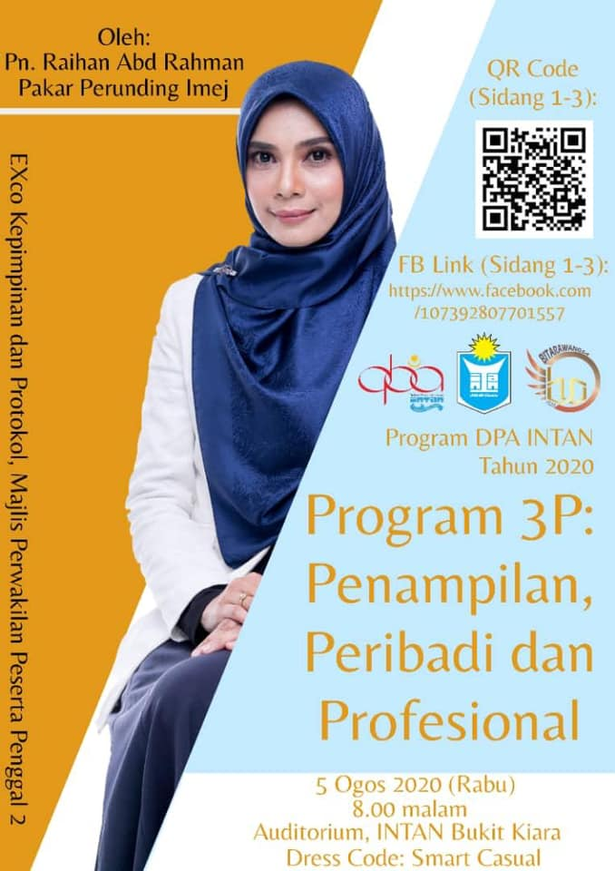 Kursus Grooming 3P : Penampilan, Peribadi dan Profesional Kadet PTD – Institut Tadbiran Awam Negara (INTAN) Pada 5 Ogos 2020