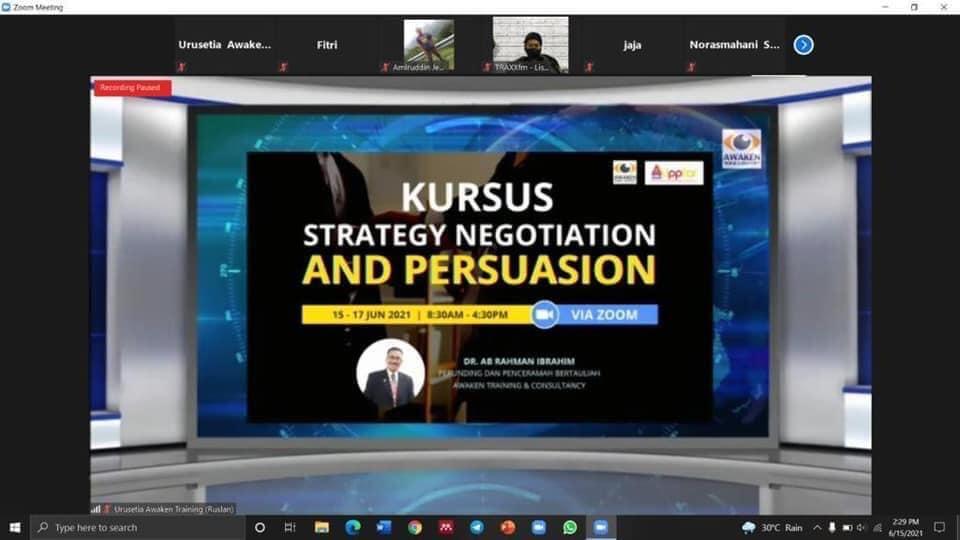 Kursus Strategy Negotiation and Persuasion Institut Penyiaran dan Penerangan Tun Abdul Razak (IPPTAR) pada 15 – 17 Jun 2021